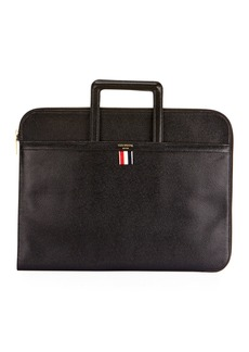 Thom Browne Men's Pebbled Leather Portfolio Case with Handles