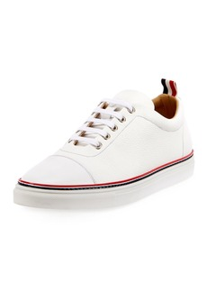 Thom Browne Men's Straight-Toe Leather Low-Top Sneakers