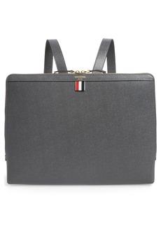Men's Thom Browne Document Holder Leather Backpack - Grey