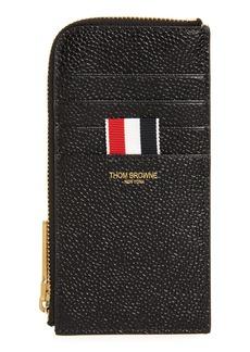 Men's Thom Browne Half Zip Around Pebbled Leather Wallet - Black