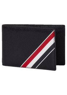Men's Thom Browne Stripe Leather Bifold Wallet - Black