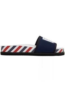 Thom Browne Navy 4-Bar Pool Slides