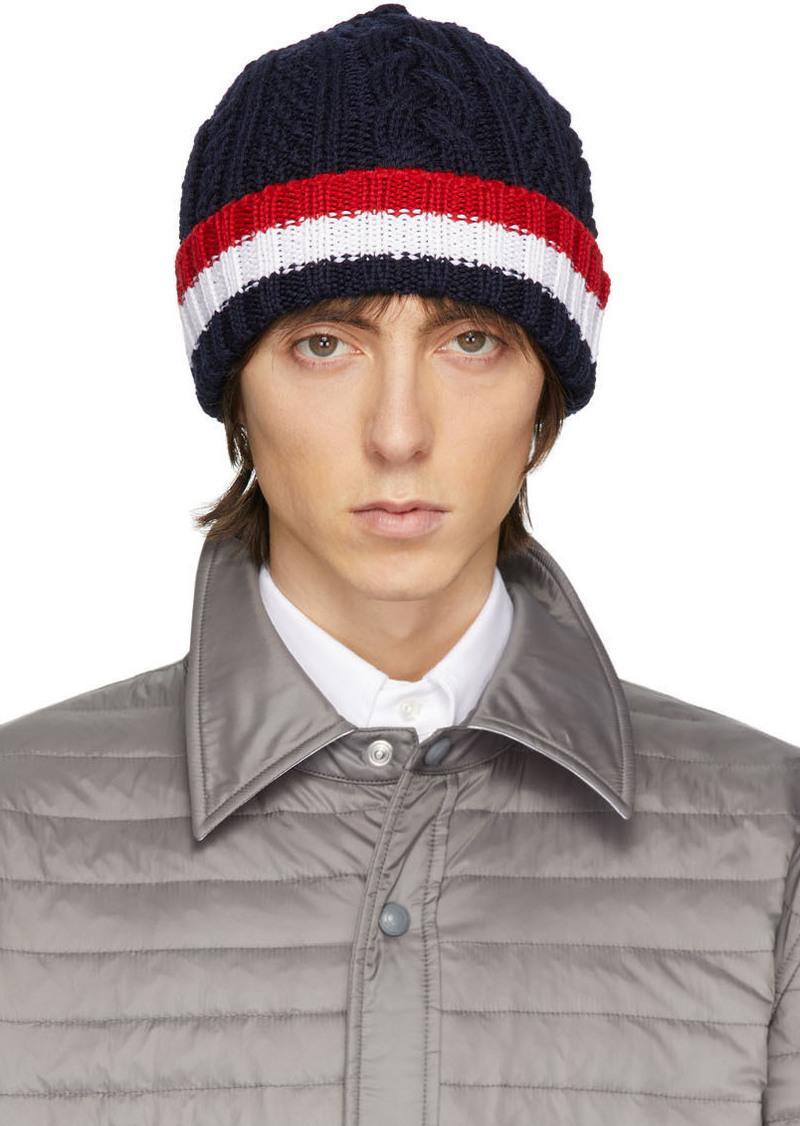 Thom Browne Navy Aran Cable RWB Hat