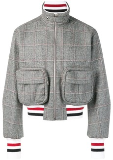 Thom Browne Oversized Windowpane Tweed Bomber