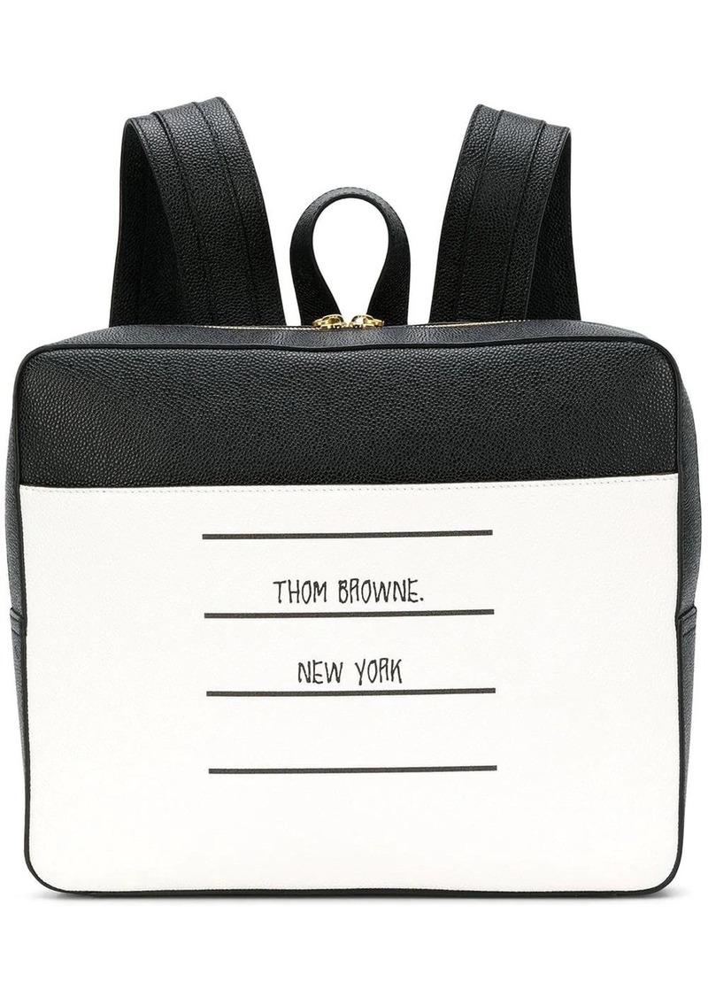 Thom Browne Paper Label Zip-Top Book Bag