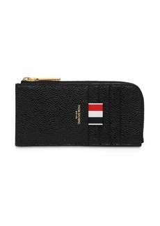 Thom Browne Pebbled Leather Half Zip Around Wallet