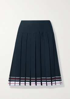 Thom Browne Pleated Striped Stretch-knit Skirt