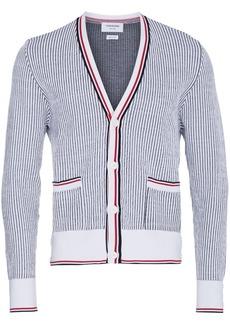 Thom Browne Seersucker Jacquard Button Front Cardigan