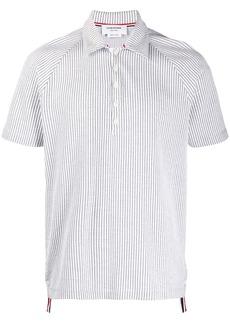 Thom Browne seersucker raglan sleeve polo shirt
