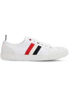 Thom Browne Striped Cotton Blend Canvas Sneakers