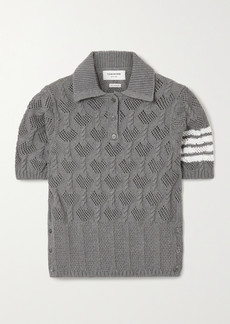 Thom Browne Striped Pointelle And Cable-knit Cotton Polo Shirt