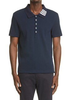 Thom Browne 4-Bar Collar Rib Cotton Polo