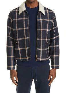 Thom Browne 4-Bar Genuine Shearling Lined Wool Flight Jacket