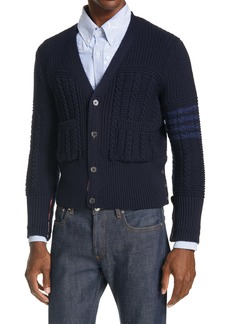 Thom Browne 4-Bar Merino Wool Aran Cardigan