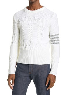 Thom Browne 4-Bar Merino Wool Aran Sweater