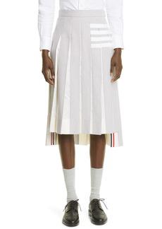 Thom Browne 4-Bar Pleated High/Low Seersucker Skirt
