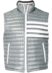 Thom Browne 4-Bar Stripe Downfill Quilted Funnel Neck Vest In Satin Finish Tech