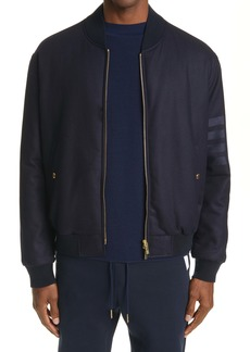 Thom Browne 4-Bar Tech Wool & Cashmere Down Bomber Jacket