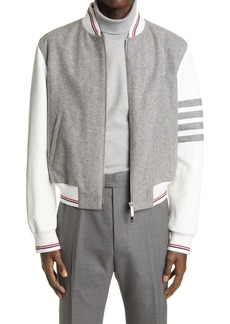 Thom Browne 4-Bar Wool & Leather Bomber Jacket
