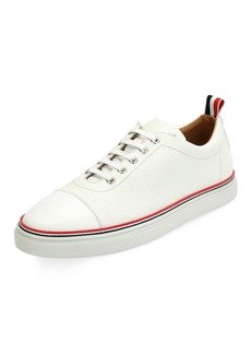 Thom Browne Men's Cap-Toe Striped-Trim Low-Top Leather Sneakers