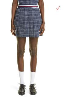 Thom Browne Check Pleated Tweed Miniskirt