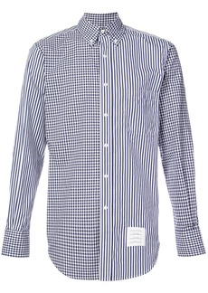 Thom Browne checked & striped button-down shirt - Blue