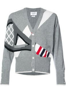 Thom Browne Classic V-neck Cardigan With Tennis Racket Intarsia In