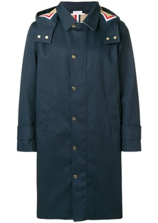 """Thom Browne Detachable Hood Snap Front Parka (38"""") In Mackintosh"""