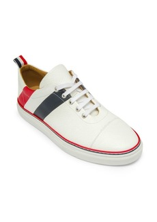 Thom Browne Diagonal Stripe Canvas & Leather Low-Top Sneakers