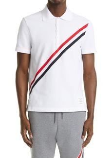 Thom Browne Diagonal Stripe Cotton Piqué Polo