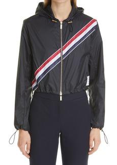 Thom Browne Diagonal Stripe Crop Hooded Jacket