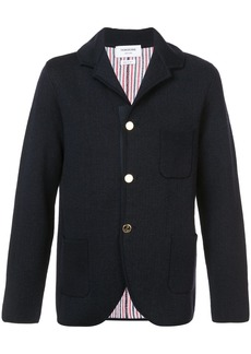 Thom Browne Double Knit Sport Coat With Red, White And Blue Stripe In Navy Merino Wool