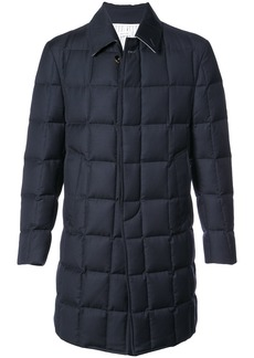 Thom Browne Downfilled Classic Bal Collar Overcoat In Navy Super 130's Wool Twill