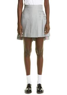 Thom Browne Drop Back Pleated Linen Miniskirt