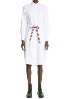Thom Browne Grosgrain Belt Long Sleeve Oxford Shirtdress