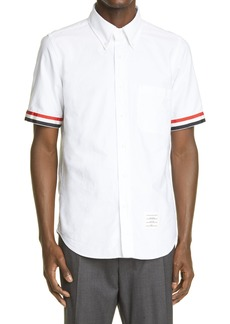 Thom Browne Grosgrain Cuff Short Sleeve Oxford Button-Down Shirt