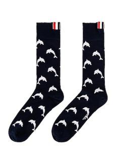 Thom Browne Half Drop Dolphin Icon Intarsia Mid Calf Socks
