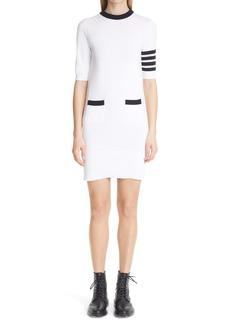 Thom Browne Hector 4-Bar Intarsia Cotton Sweater Dress