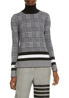 Thom Browne Houndstooth Jacquard Merino Wool Turtleneck Sweater