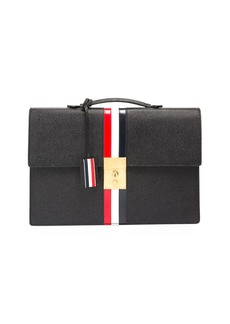 Thom Browne Leather Attache Case with Tricolor Stripes