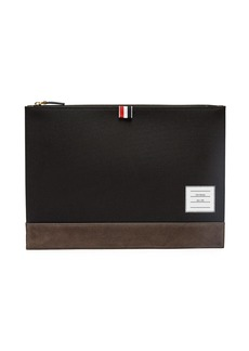 Thom Browne Leather-trimmed canvas document holder