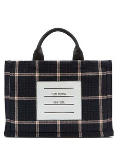 Thom Browne Logo-label windowpane-check wool-twill tote