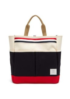 Thom Browne Logo-patch cotton-canvas tote