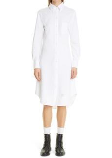 Thom Browne Long Sleeve Button-Down Cotton Shirtdress