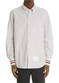 Thom Browne Long Sleeve Button-Down Seersucker Shirt