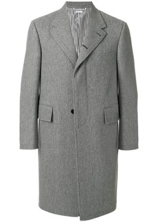 Thom Browne Melton Wool Wide Lapel Chesterfield Overcoat - Grey