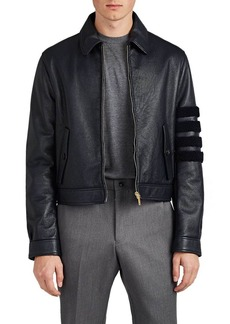 Thom Browne Men's Block-Striped Shearling Harrington Jacket