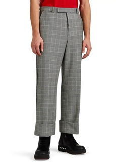 Thom Browne Men's Grosgrain-Trimmed Glen Plaid Cuffed Trousers