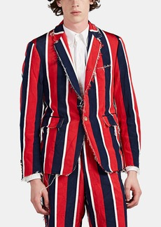 Thom Browne Men's Raw-Edge Striped Silk-Cotton Three-Button Sportcoat