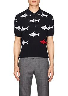 Thom Browne Men's Shark-Pattern Cotton Polo Shirt